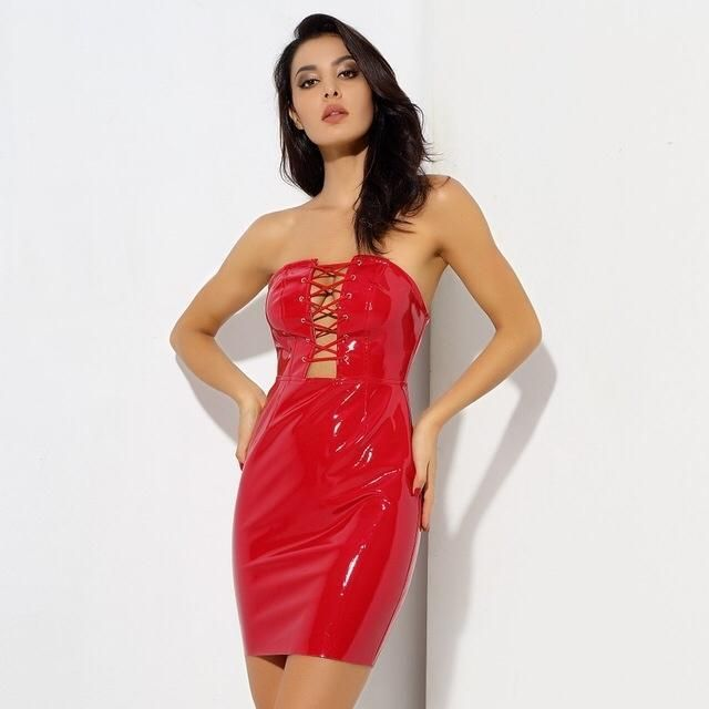 c3dfe774c9 Worth The Risk PVC Strapless Bodycon Mini Dress in 2019 | Costumes | Dresses,  Leather dresses, Strapless party dress