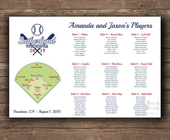 Baseball Themed Wedding Seating Chart  Printable File  Funny
