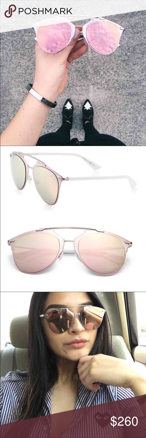 d18dd632c4e Pink Christian Dior reflected sunglasses Authentic pair