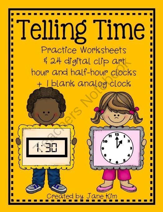 TELLING TIME~Practice Worksheets & Digital Hour/Half-Hour Clip Art ...