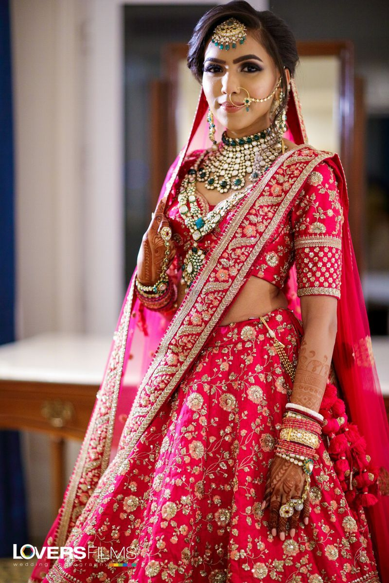 Rani Pink Bridal Lehenga With Emeralds See More On Wedmegood Com Indian Bridal Outfits Indian Bride Outfits Bridal Lehenga Red Fabric of this semi stitched lehenga is georgette and fancy sequins work with deserving beautiful border. rani pink bridal lehenga with emeralds