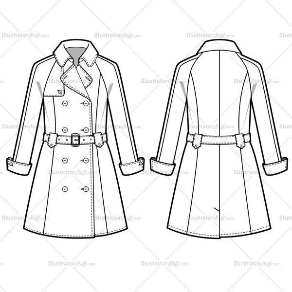 Women 39 s trench fashion flat template fashion flats - Dessin de manteau ...