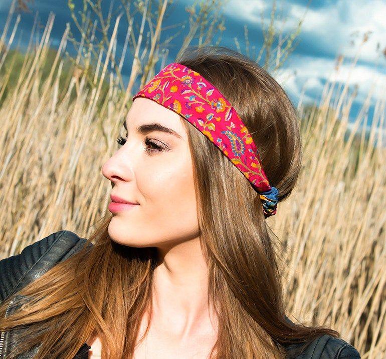 European Women Vintage Flower Silk Headwrap Hair Band Bow Knot Floral Headband
