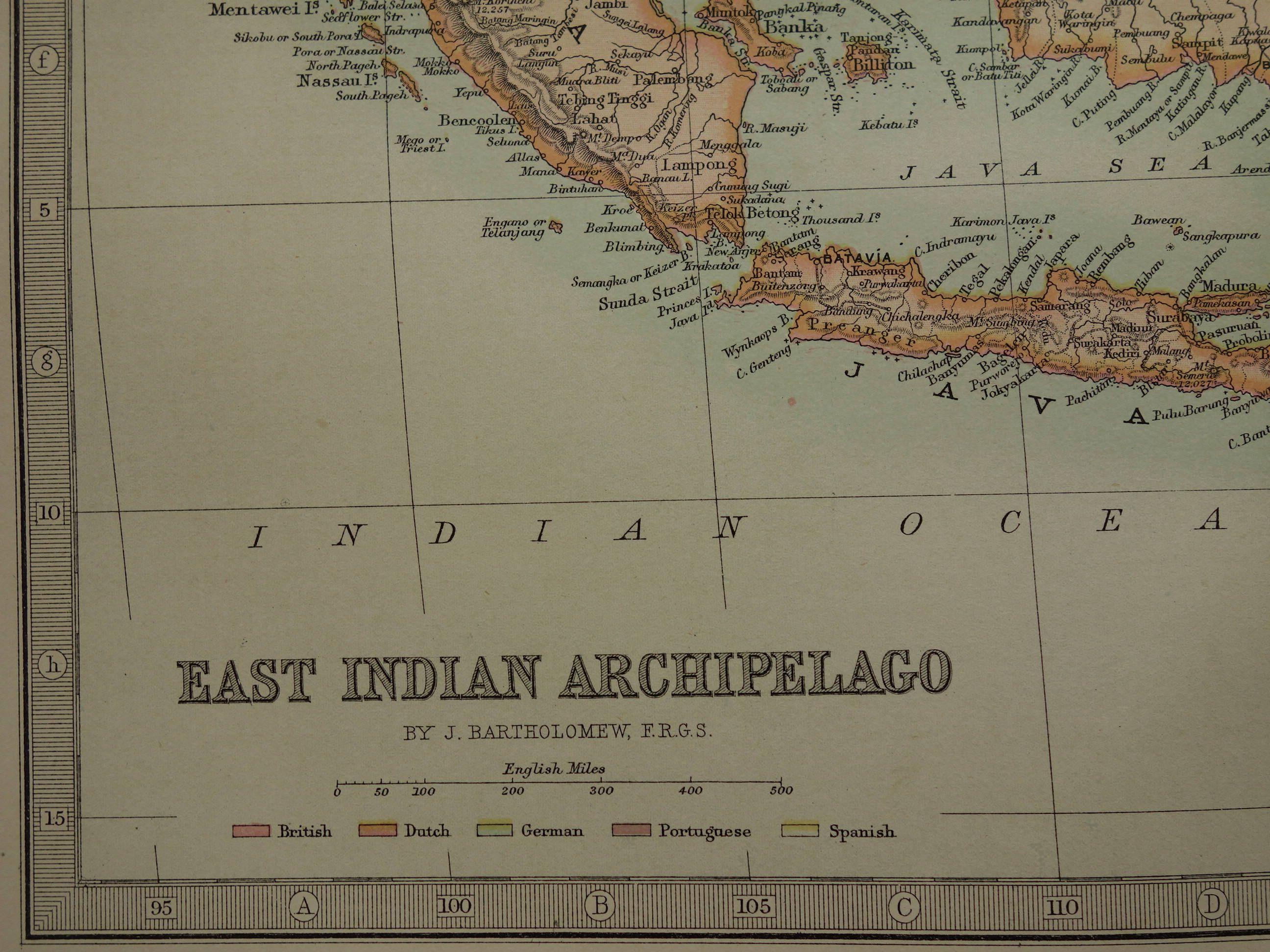Indonesia map large 1890 original old antique print of east indies indonesia map large 1890 original old antique print of east indies singapore philippines timor vintage old publicscrutiny Images