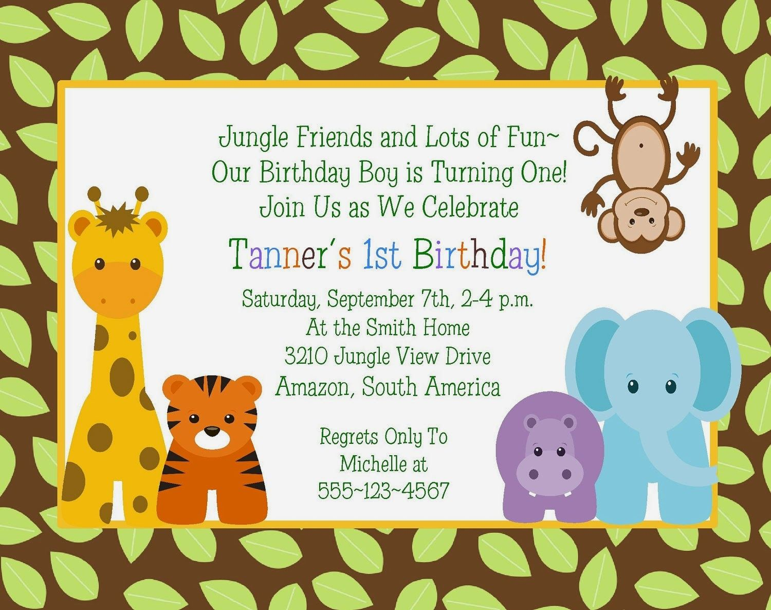 Safari Themed Baby Shower Invitation Templates Printable