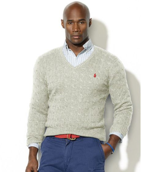 Ralph Lauren - Gray Cable Knit Silk V Neck Sweater for Men - Lyst