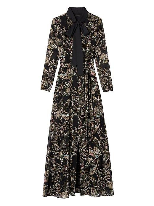 55f4f02ea8fb Floral Tie-Neck Maxi Shirt Dress in 2019   Products   Dresses, Maxi ...