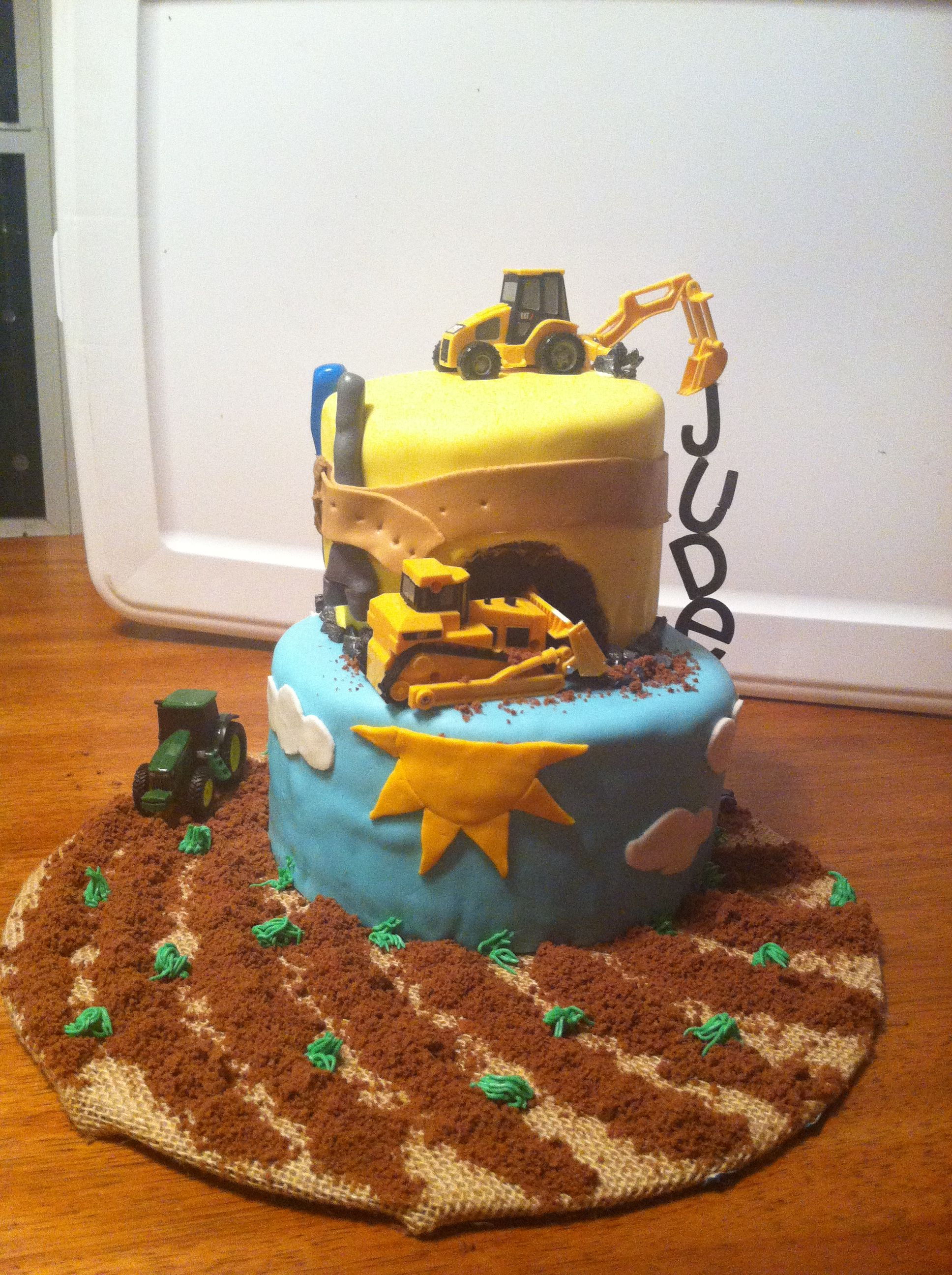 tractor backhoe and front end loader cake for my son u0027s birthday