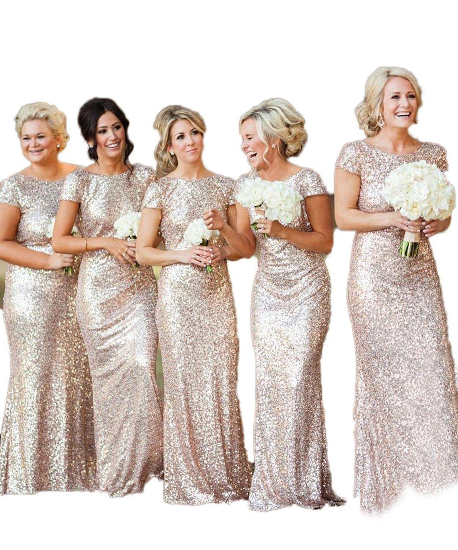 Women sparkly rose gold long sequins bridesmaid dress promevening