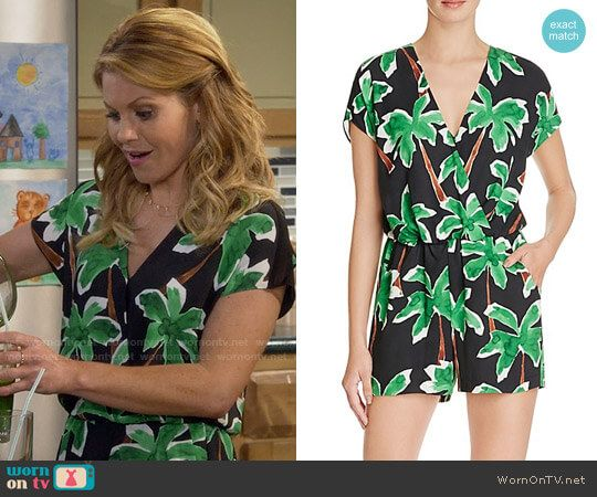 ddb7476476 DJ s black palm tree print romper on Fuller House. Outfit Details  https