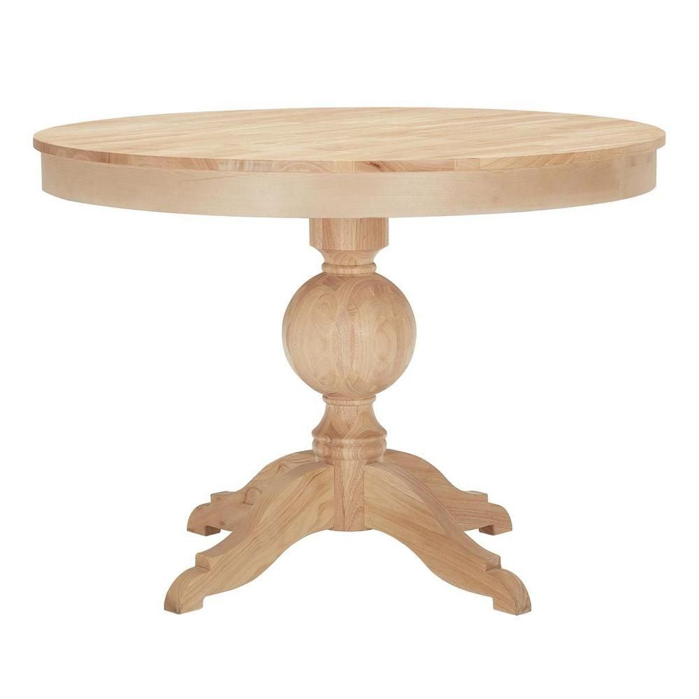 Stylewell Stylewell Unfinished Wood Round Pedestal Table For 4 42 In L X 29 75 In H T 01 The Home Depot Round Pedestal Dining Pedestal Table Dining Table
