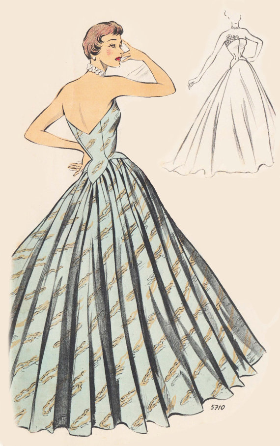 Vintage Sewing Pattern 1950's Evening Ball Gown in Any