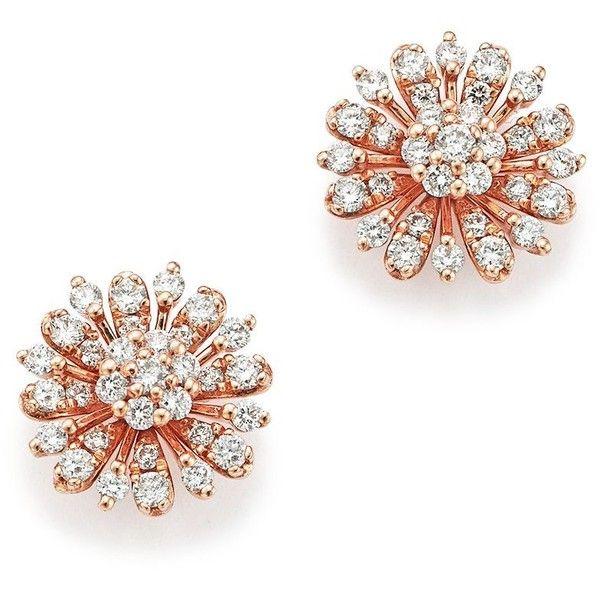 Diamond Flower Stud Earrings In 14k Rose Gold 65 Ct T W 100 1 600 Lik Flower Earrings Studs Rose Gold Earrings Studs Diamond Earrings Studs Round