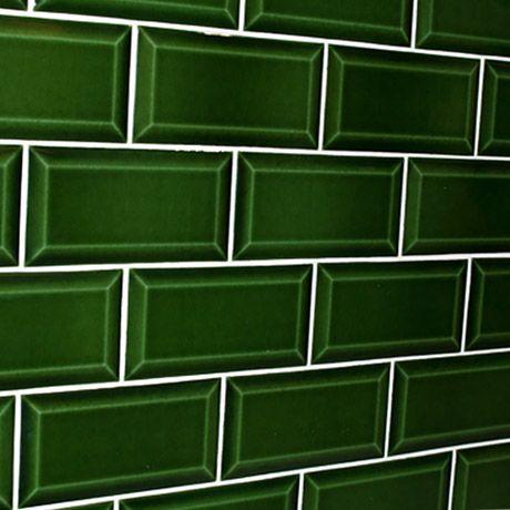 Bevelled Brick Verde Cristal Dark Green Green Tile Bathroom