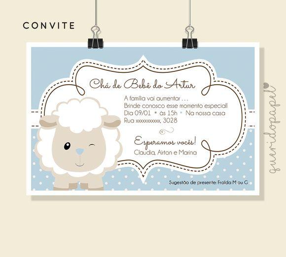 Convite Ovelhinha Convite Batizado Convite Chá De Bebê Convite