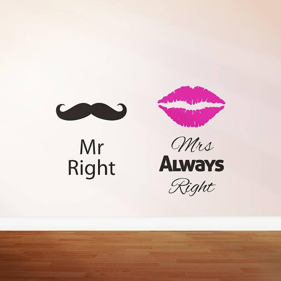 mr right mrs always right wall sticker by zabb