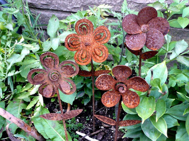 Rod Iron Metal Flower Pic Set/4 Garden Landscaping Patio