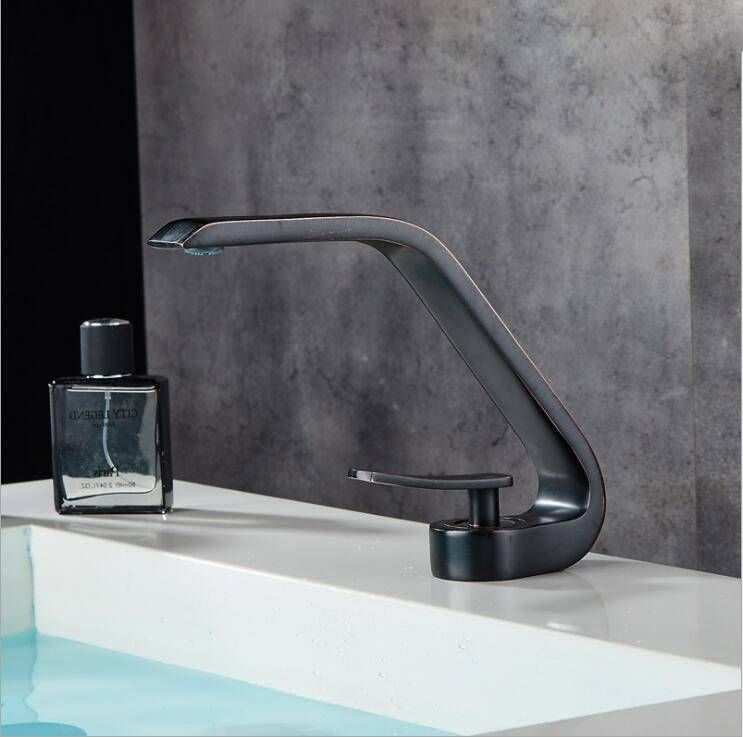 Modern Bathroom Mixer Tap Silver Black Brush Nickel Color Brass