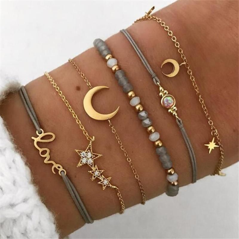 NewYobest 6 Pcs/ Set Retro Hollow Star Moon Love Crystal Chain Pendant Gold Bead Bracelet. The best for girls.