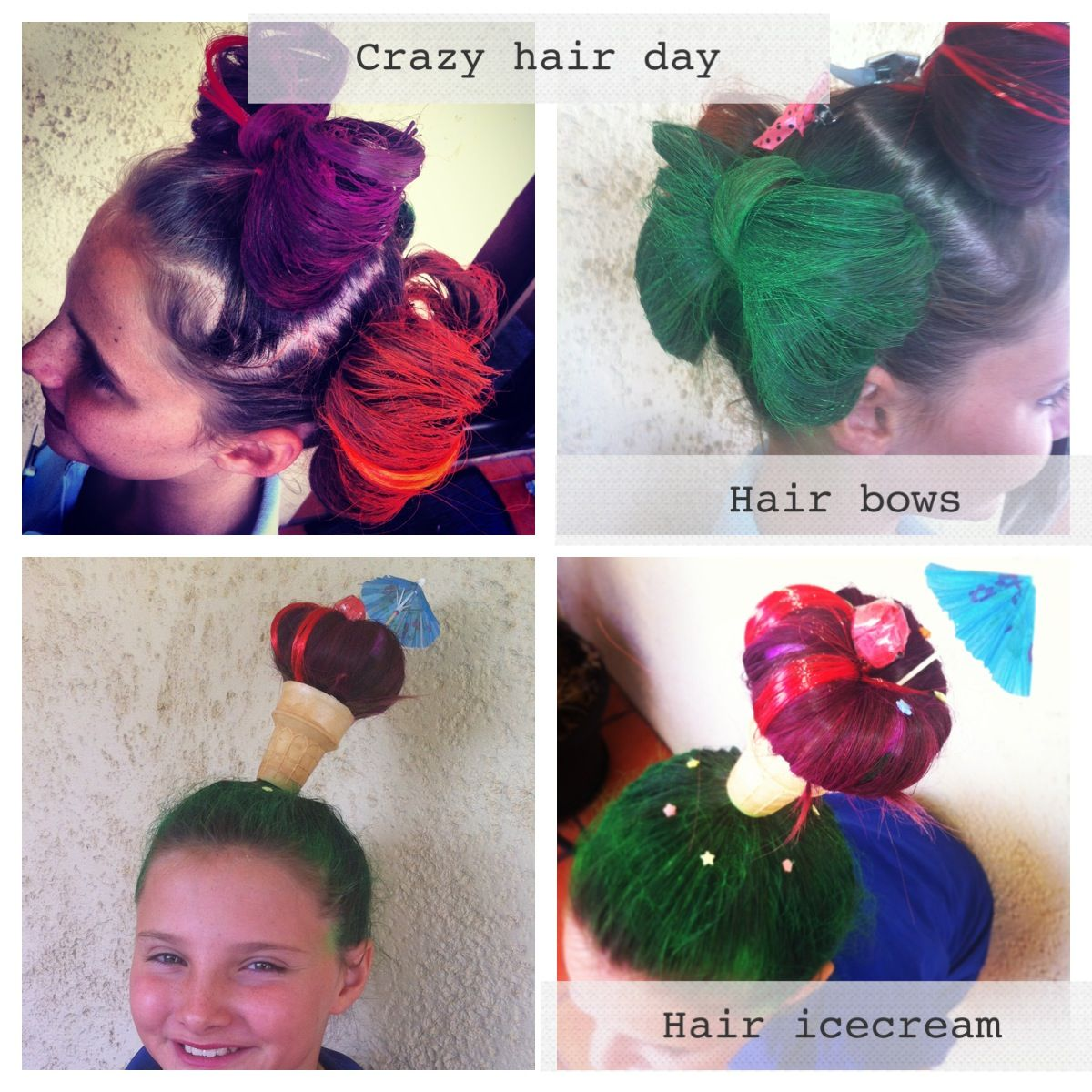 Crazy Hairstyles Crazy Hair Day #hairstyles For Kids Icecream Hair And Hair Bows
