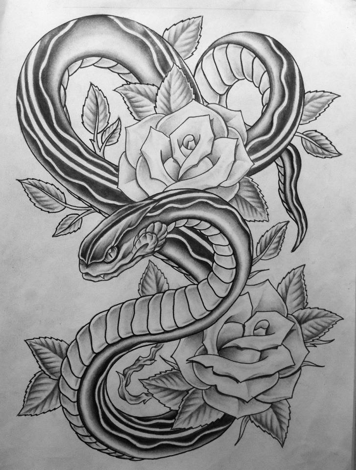 Snake Roses By Nsanenl On Deviantart Rose Tattoo Design Inspirational Tattoos Flower Tattoo Designs