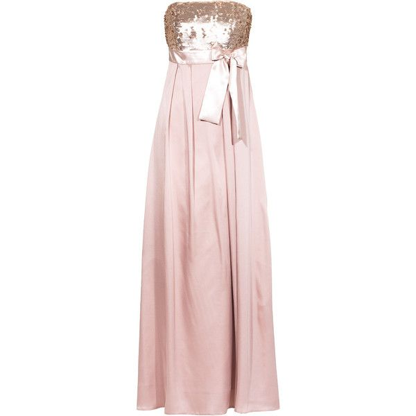 Young Couture By Barbara Schwarzer Sequin Bow Glam Rose Floor Length 305 Liked On Polyvore Featuring Dresses Gowns Gown Pink Sparkly Dress Pink Gowns Sequin Gown