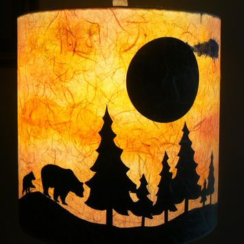 Bears At Sunset Paper Lamp Shade Watercolor And Paper Silhouettes Paper Lampshade Lamp Lamp Shade