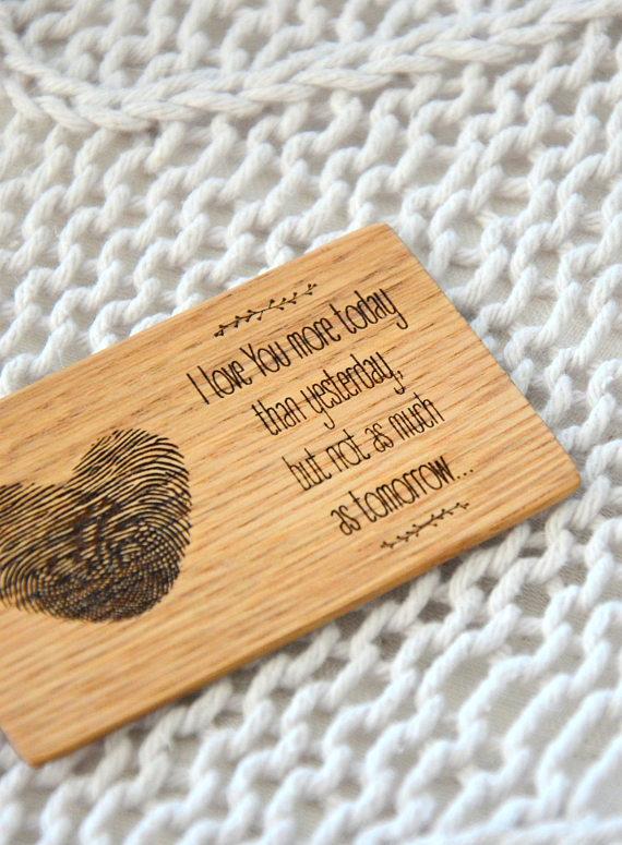 Boyfriend Card Personalized Wallet Insert Wooden Memory Romantic