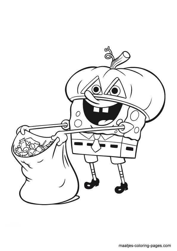 Halloween SpongeBob SquarePants Coloring Page