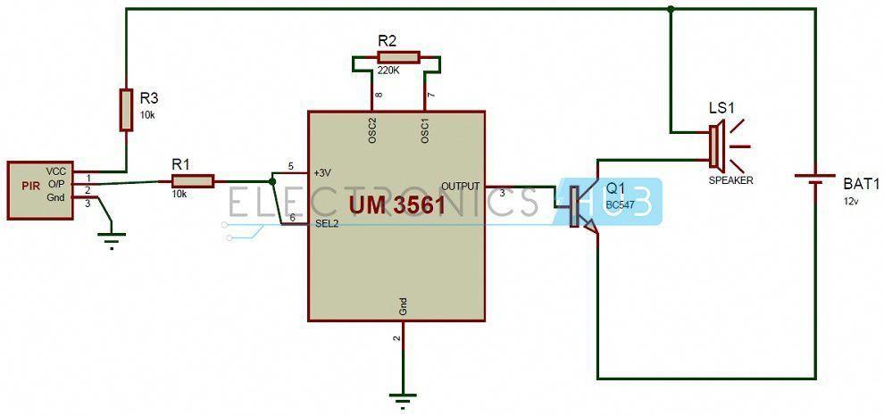 Pir Sensor Based Security Alarm Circuit Diagram