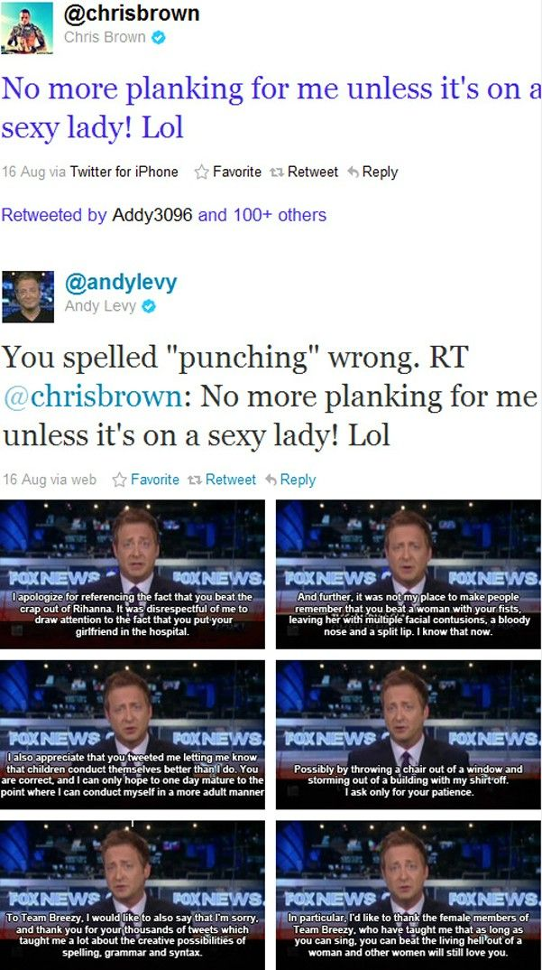 I may not like Fox News, but Andy Levy just owned Chris Brown