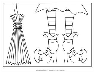 witches on broomsticks coloring pages - photo#35