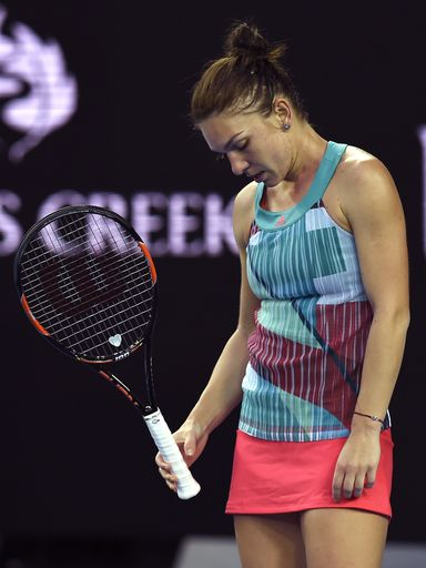 Simona Halep Of Romania Reacts During Her First Round Loss To Zhang Shuai Of China At The Australian Open Tennis Cha With Images Tennis Simona Halep Australian Open Tennis