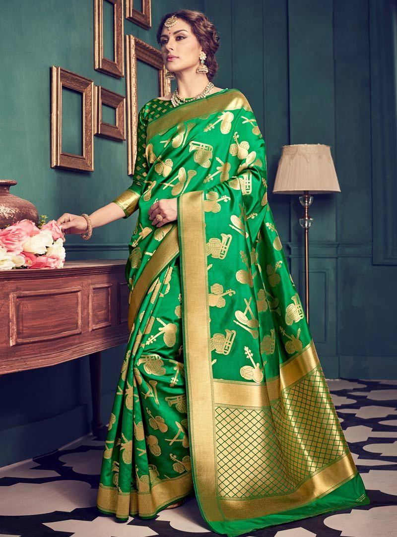 3e8dc2e09c7ce Green Silk Engagement Wear Saree 87547
