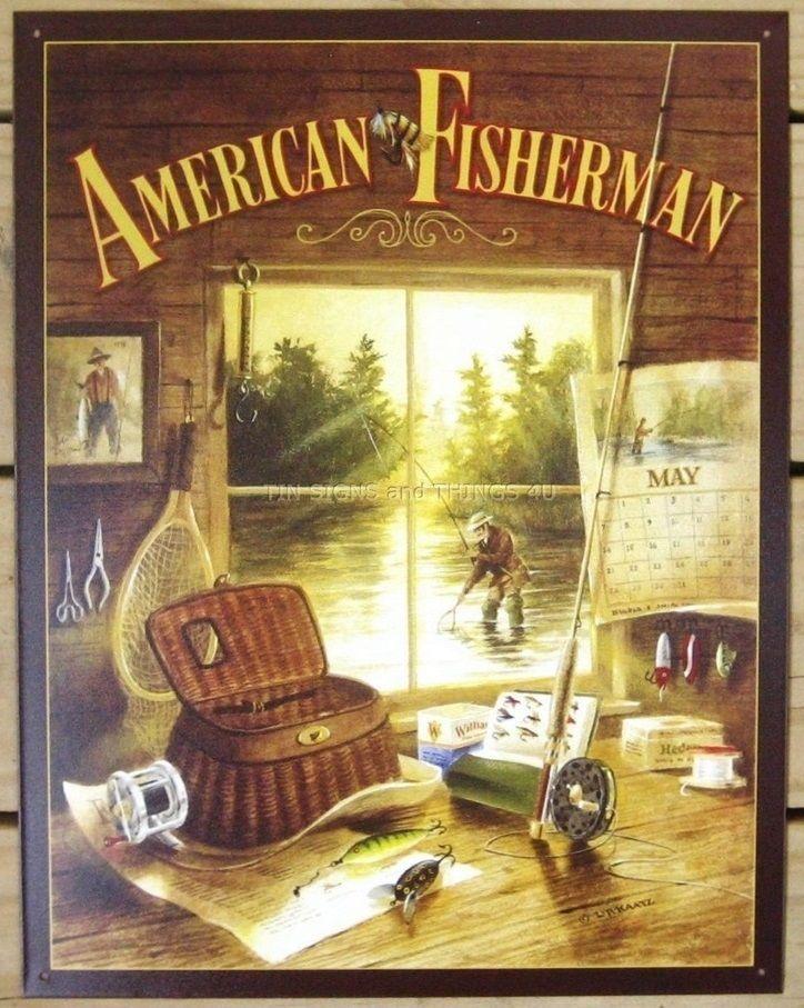 American Fisherman TIN SIGN fish gift vtg cabin metal wall decor art ...