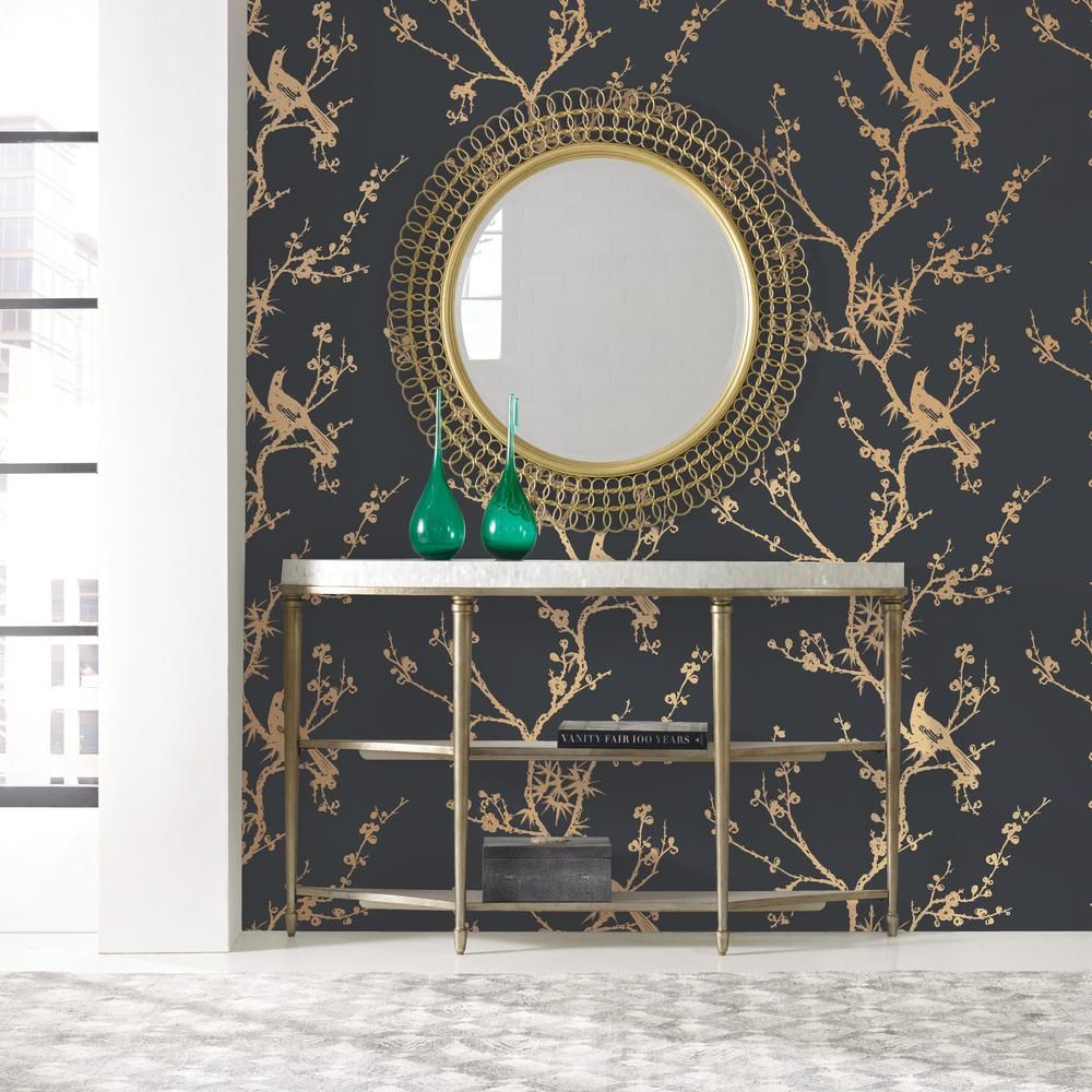 Cynthia Rowley For Tempaper Bird Watching Black And Gold Self Adhesive Removable Wallpaper