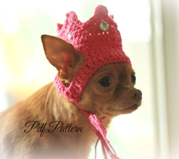 Pattern crochet dog hat~crown~princess~king~ photo prop~ small dog ...