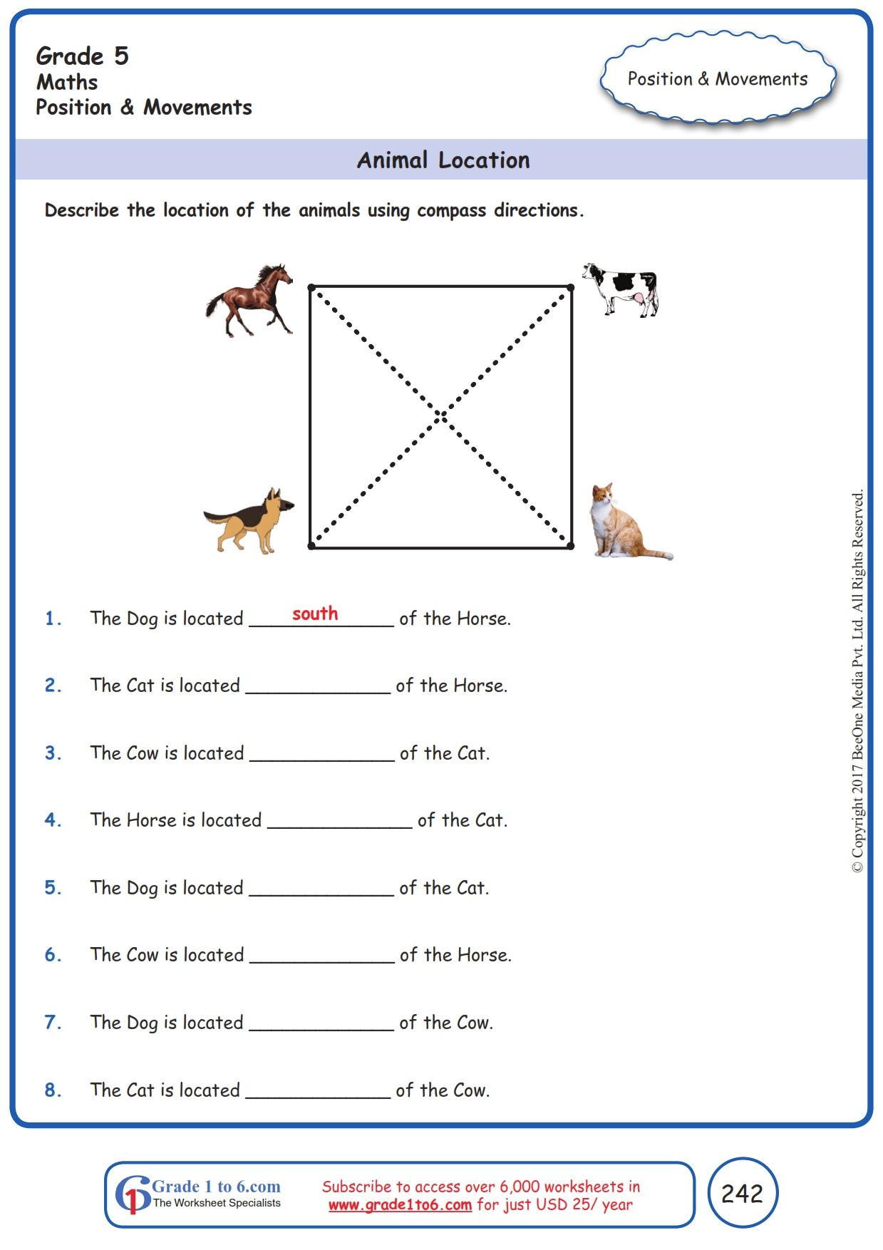 medium resolution of Worksheet Grade 5 Math Animal Location   Grade 5 math worksheets