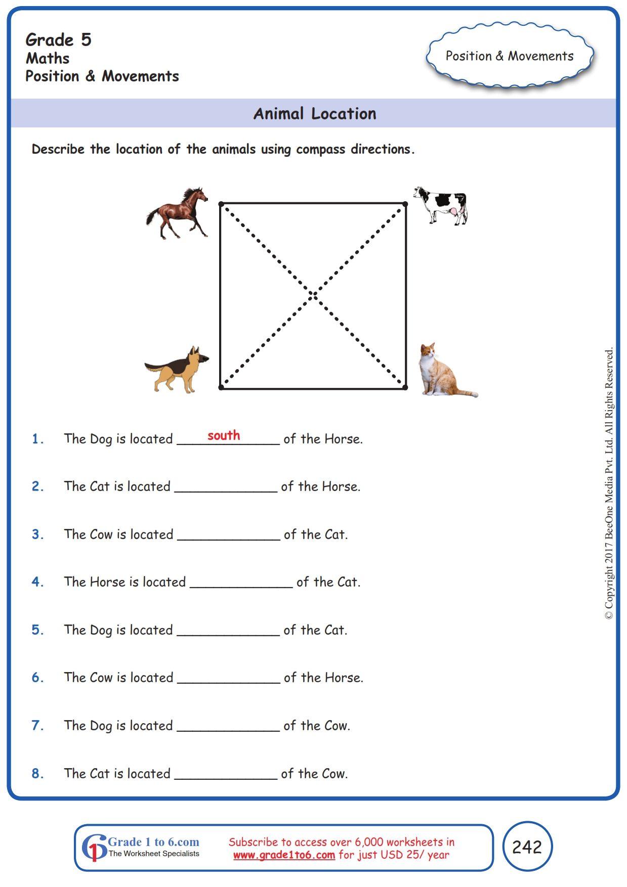 Worksheet Grade 5 Math Animal Location   Grade 5 math worksheets [ 1754 x 1239 Pixel ]