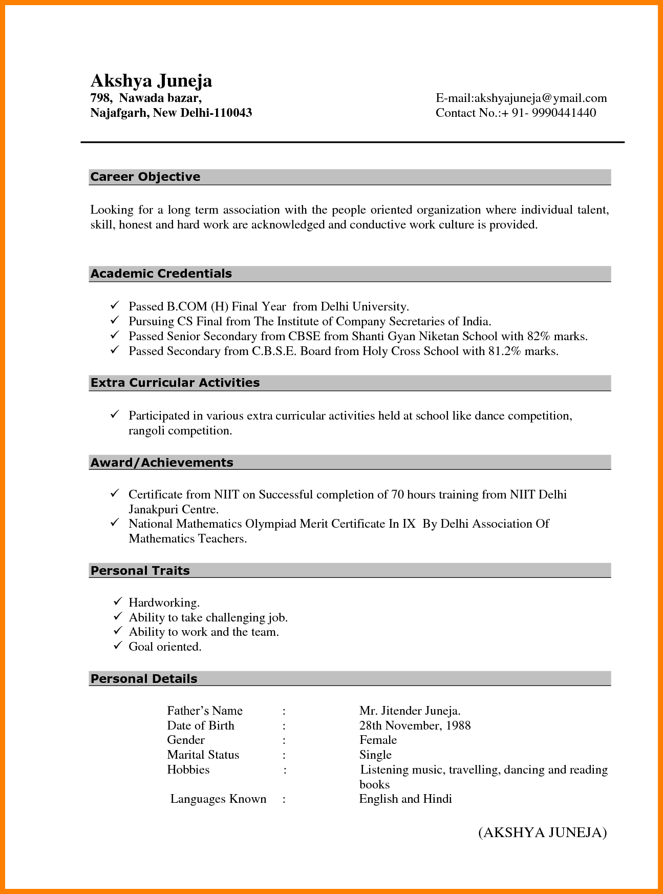 fresher resume format for bcom students with no experience