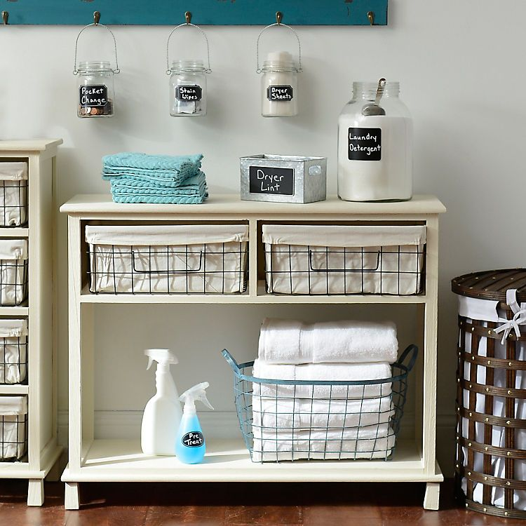 Charmant Cream 2 Drawer Storage Basket Console Table | Kirklands