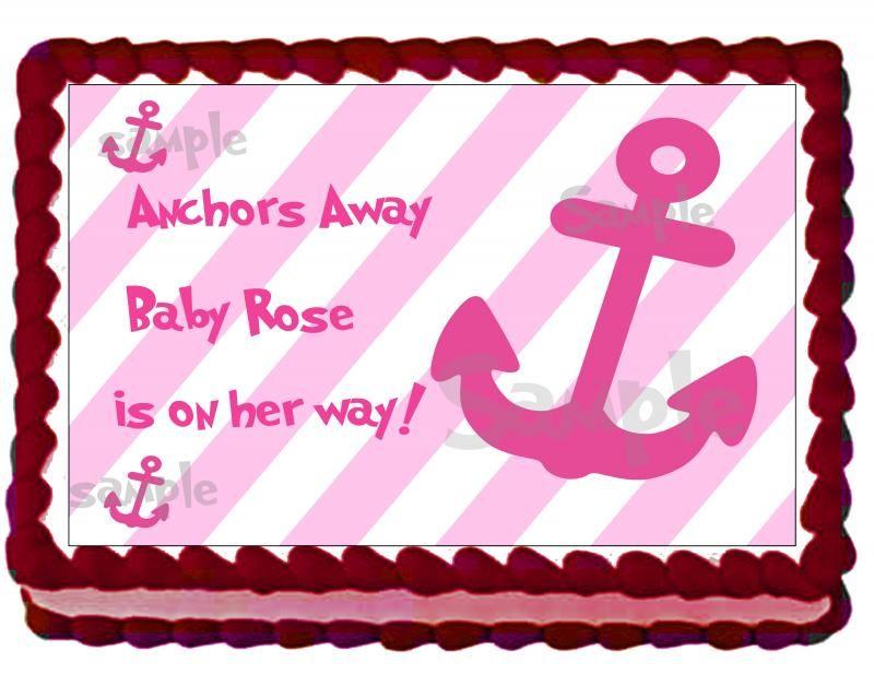 nautical+baby+shower+cake   Nautical Girl Baby Shower Cake Topper