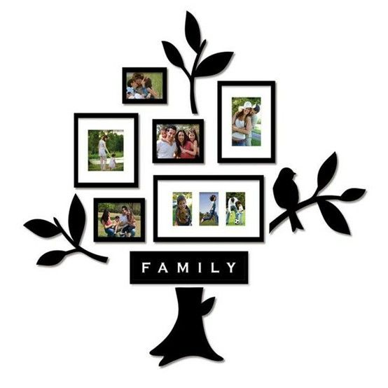 family tree decal with framed family photos - bed, bath & beyond