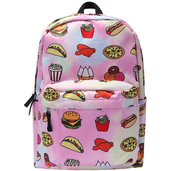Romwe Pizza Print Zipper Backpacks (550 HNL) ❤ liked on Polyvore featuring bags…