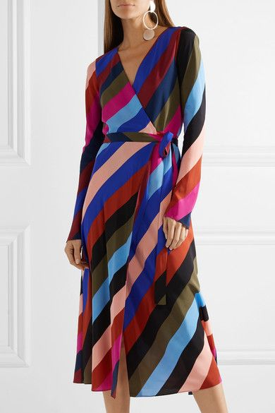 Footaction Visit Cheap Online Striped Silk Crepe De Chine Wrap Midi Dress - Purple Diane Von Fürstenberg Visa Payment Online Outlet 100% Guaranteed pDVVSI