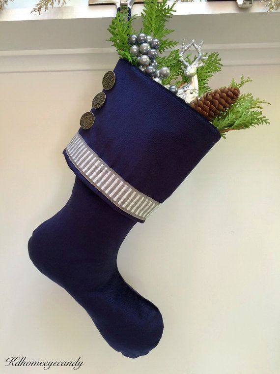 blue christmas stocking navy christmas stocking silver and blue christmas stocking blue velvet stocking blue stocking navy stocking hues in blue - Blue Christmas Stocking