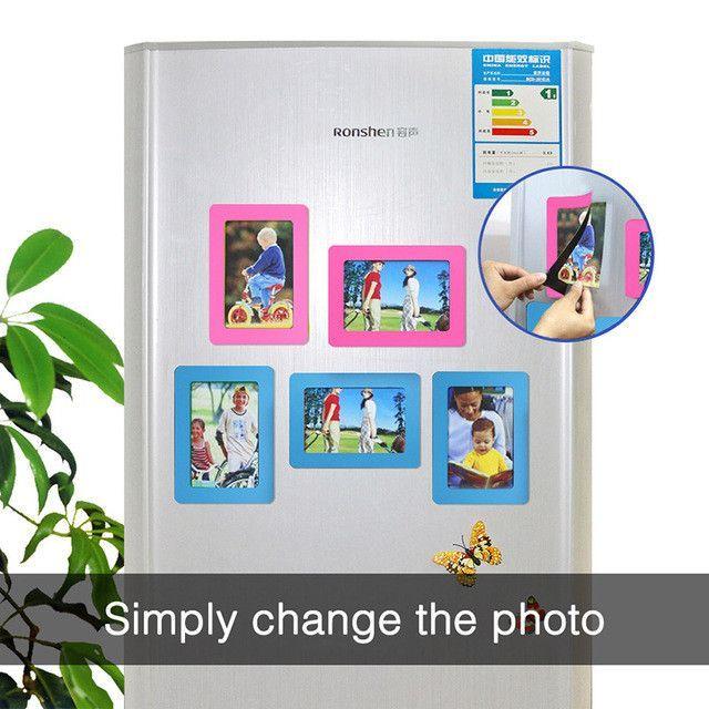 Magnetic Photo Frame Fridge Magnets Refrigerator Decor Flexible