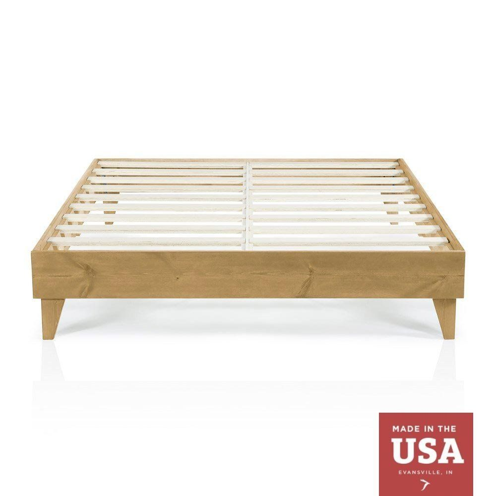 Amazon Com Wood Platform Bed Frame Queen Size Modern Wooden Design Solid Wood Made In U S Cheap Bed Frame Wood Platform Bed Frame Wood Platform Bed