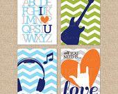 All you Need is Love sign, Rock and Roll Nursery Art prints, Beatles Art // Modern Musical Nursery/Kids Giclée Art Prints // N-G06-4PS