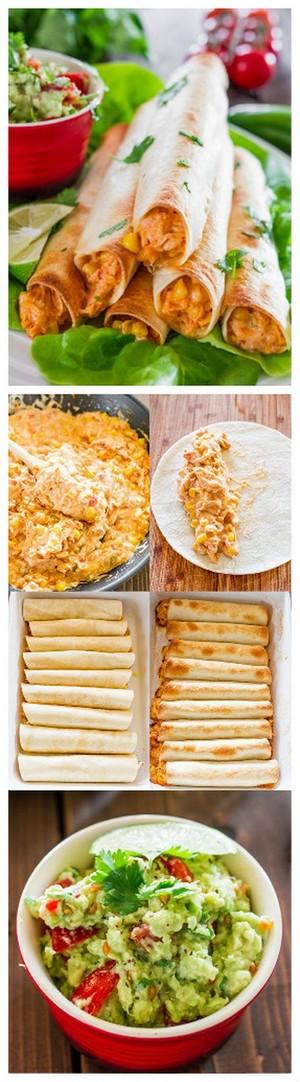 Baked Creamy Cheesy Chicken Flautas with Guacamole | Bake a Bite